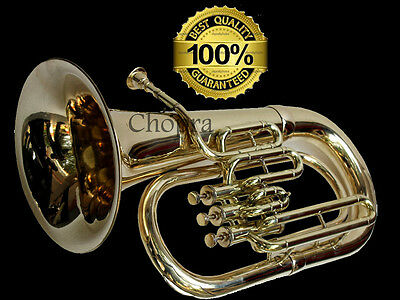 Euphonium Shinning Brass Bb FLAT 3 Valve M/ Piece & Bag FREE Shipping