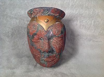 Unusual Old Bronze Egyptian Style Head Jar / Container..Purpose Unknown
