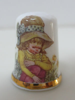 England Finsbury Bone China Thimble Young Girl with Flowers