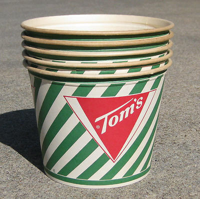 LOT of 5 TOM'S TOASTED PEANUTS BUCKETS ADVERTISING CANDY CANES