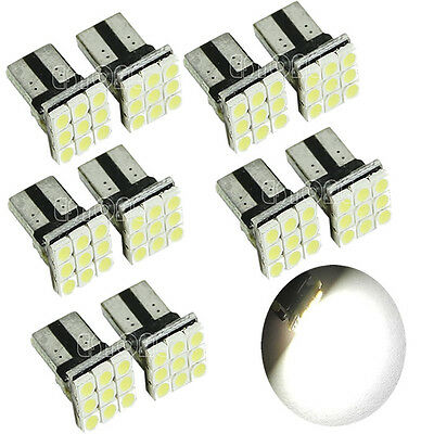 10 X T10 LED 9 SMD White Car License Plate Light Tail Bulb 2825 192 194 168 W5W