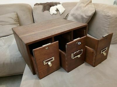 Antique Wooden 3 Small Draw Box Table Top Chest Filing Display Shop Cabinet