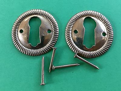 "2 round 1"" Keyhole Door chest Lock Escutcheon Plate skeleton key brass vintage"