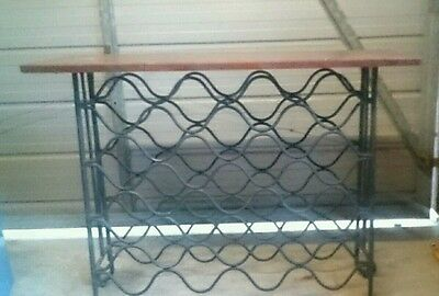 wood and wraught iron wine rack