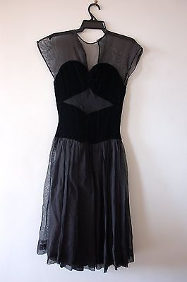 1940s black velvet and sheer GATSBY dress - XXS / XS