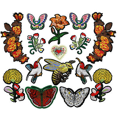 Tiger Flower Sanke Birds Bee Floral Embroidered Applique Patches  Sew on For DIY