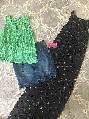 Size 12 M Maternity Lot Patch Maxi Dress NWT Denim Skirt Virtu Top