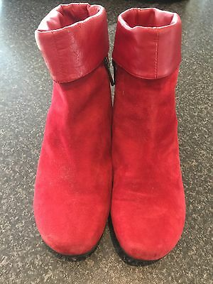 Red Ankle Suede Leather Boots Size 7 EUR 38
