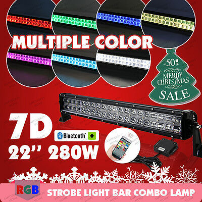 280W 7D RGB LED Light Bar 22inch Offroad Strobe Bluetooth Music Flashing Colorul