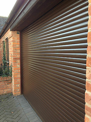 Garage Door Insulated Roller  Electric Brown New With 2 Remotes 8Ft X 8Ft