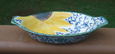 Vintage Poole Pottery England Hand-Painted Oval Dish *Yellow Sunflower