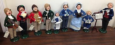"""8"" Byers' Choice Ltd The Carolers Christmas Waits Musicians Conductor w Stand +"