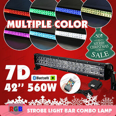 560W 7D CREE RGB LED Light Bar 42INCH Bluetooth Music Flashing Lamp Multi Color