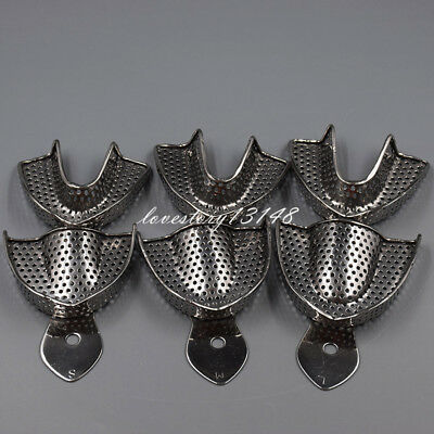 New 6 Pcs Dental Stainless Steel Anterior Impression Trays Large+ Middle +Small