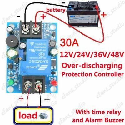 Battery anti-over discharge protection controller Relay Board Alarm Buzzer 30A