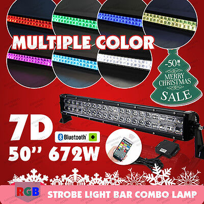 672W 7D CREE 50INCH RGB LED Light Bar Bluetooth Music Flashing Lamp Multi Color