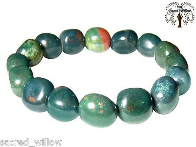 Bloodstone Nugget Gemstone Nugget Stretch Bracelet - Tumbled Stone Natural Bead
