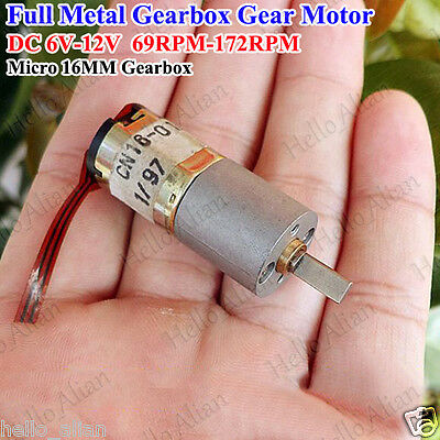 Micro Mini Full Metal Gearbox Gear Motor Reducer Motor DC 6V~12V 69RPM for Robot