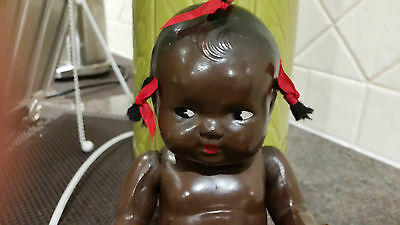 """Vintage 1930's Composition Topsy Jointed Black African  Doll 11"""""""