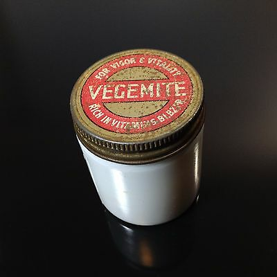 Vintage Vegemite  Milk Glass Jar