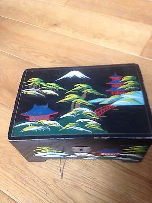 Japanese Lacquered Box Hand-painted