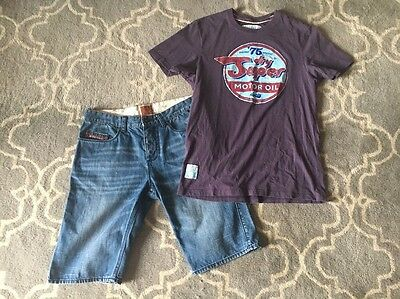 Superdry Size 31 Denim Shorts And Superdry XL Tee Shirt