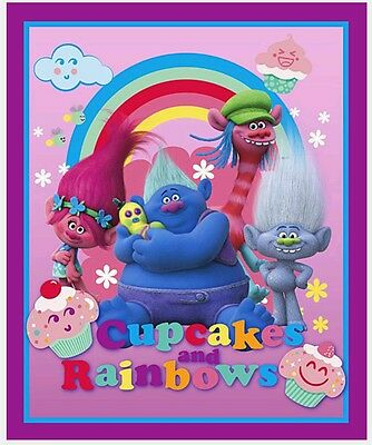 Trolls Colourful Friends Quilt Panel * New * In Stock * Free Post *