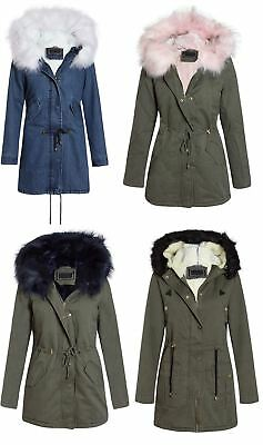 New Womens Zipped Parka Jacket with Detachable Faux Fur Trim and Lined Hood