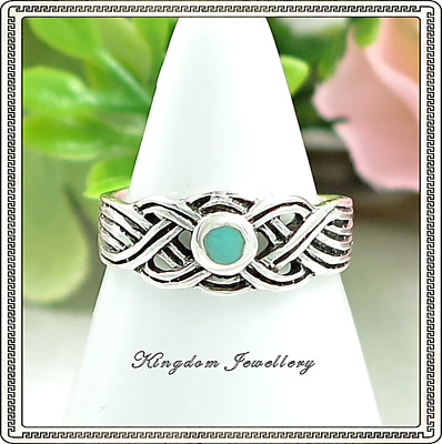 925 Sterling Silver Celtic Design Baby Blue Shell Toe Ring