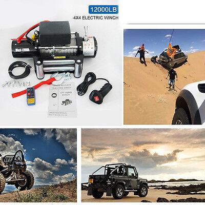 Classic 12000lbs 12V Electric Recovery Winch Truck SUV Durable Remote Control bY