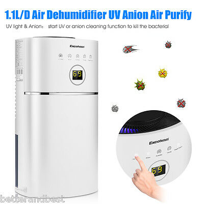 1.1L/D Digital Air Purify Dehumidifier Portable Anion UV Damp Moisture Bathroom