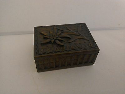 Black Forest Stamp Box , Edelweiss pattern.