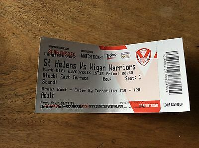 St Helens V Wigan Ticket Stub from Easter 2016