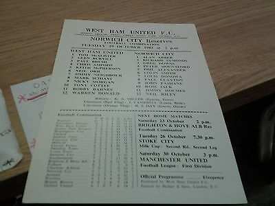 west ham v norwich 82.83 RESERVES football combination