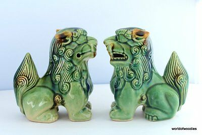 A Pair Of Vintage Chinese Glazed  Foo Dogs / Temple Lions