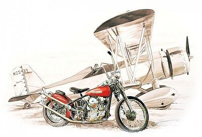 Affiche Poster Francois Bruere American Motorcycle / Bike & Airplane