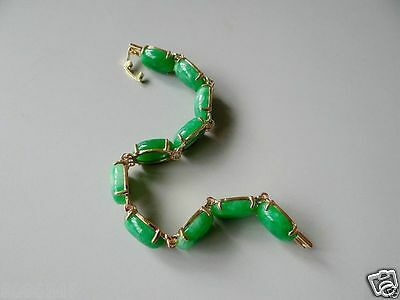 100% chinese  green Natural jade inlay gold-plated chain bracelet
