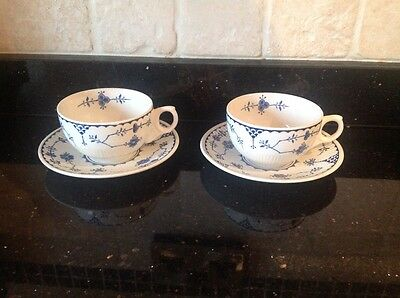 Furnivals Denmark tea cups and saucers x 2 vgc