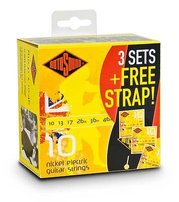Rotosound R10 3 Sets + FREE Strap - Nickel Plated Electric Guitar Strings R10
