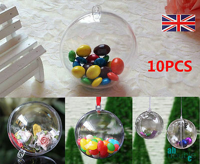 Clear 2part Ball Christmas XMAS Tree Baubles Birthday Easter Ball Gift Boxed 5CM