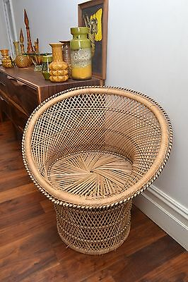 Stylish Mid Century Vintage Woven Butterfly Wicker Chair