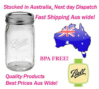 6 x Ball Mason Wide Mouth Quart Jars / Bottles (1 Litre) and Lid - BPA FREE