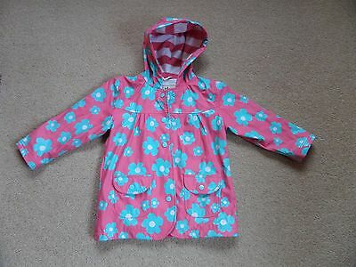 GORGEOUS Girl's HATLEY Raincoat Fully Lined Age 4 Pink with Turquoise Flowers