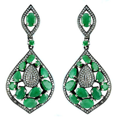 Gracious Natural Green Emerald Whitecz Sterling 925 Silver Black Rhodium Earring