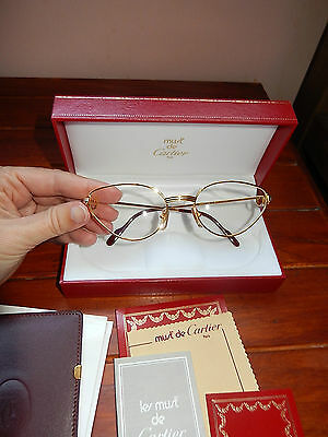 Vintage GENUINE Cartier Rivoli Louis gold cat eye glasses BNWT