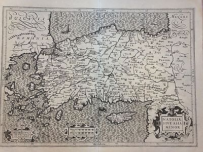 Turkey Cyprus Peloponese 1623 Mercator Hondius Large Copper Engraved Map