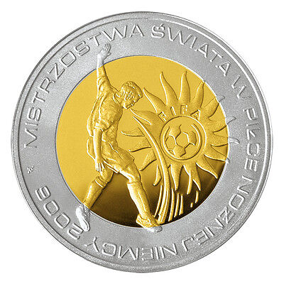 Poland Silver 10 zł 2006 Fifa World Cup Germany 2006 Gold Plated Look!!!