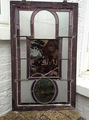 Antique Old Victorian Georgian Handpainted Stained Glass Of A Tavern Scene