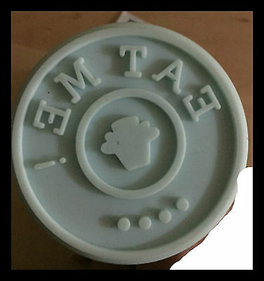 Eat Me Cookie Stamp with cupcake blue Silicone with Wooden Handle- from Germany