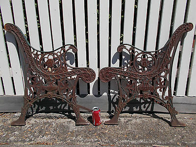 Old Cast Iron Garden Seat Bench Ends & Supports Only